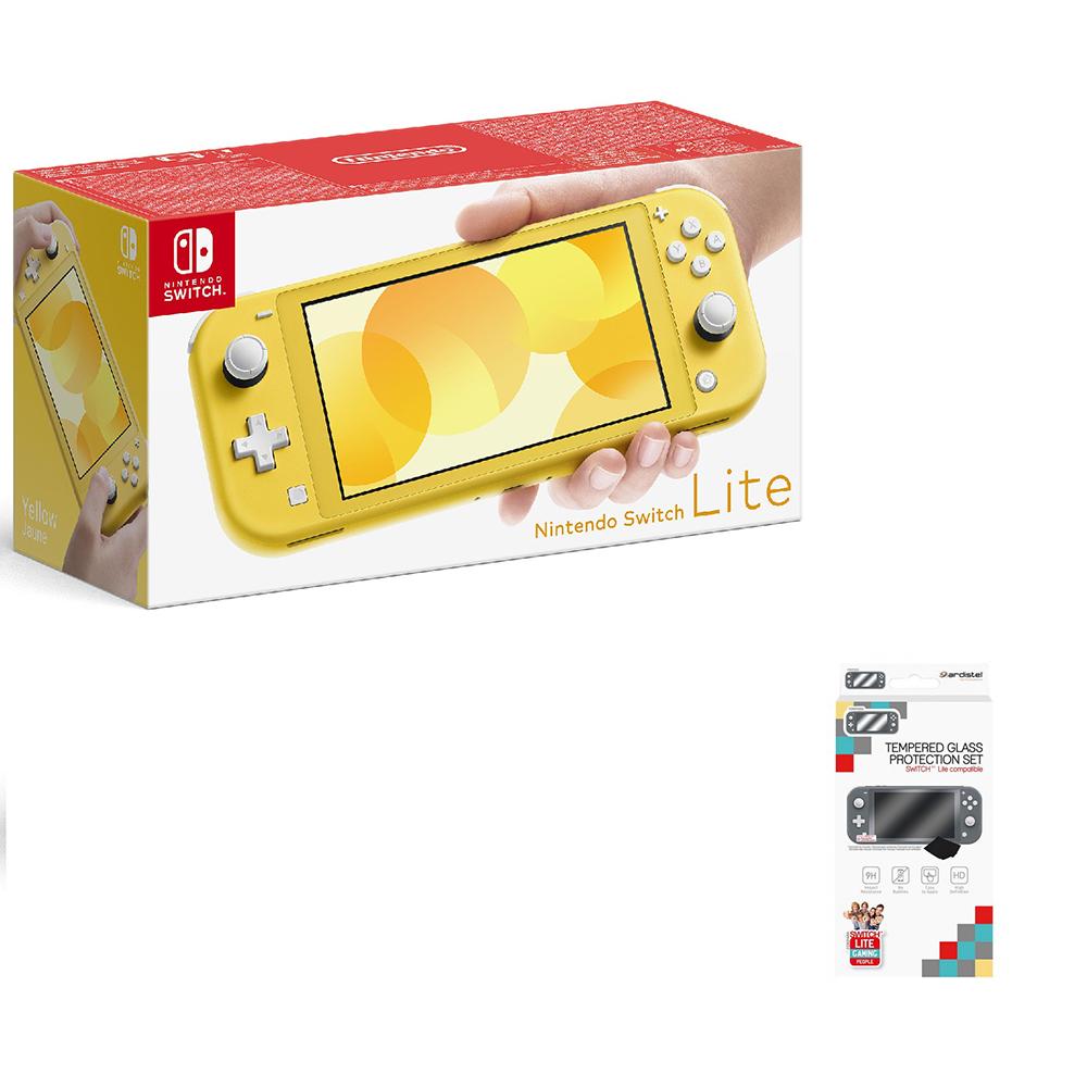 Consola nintendo switch lite amarillo + protector cristal te
