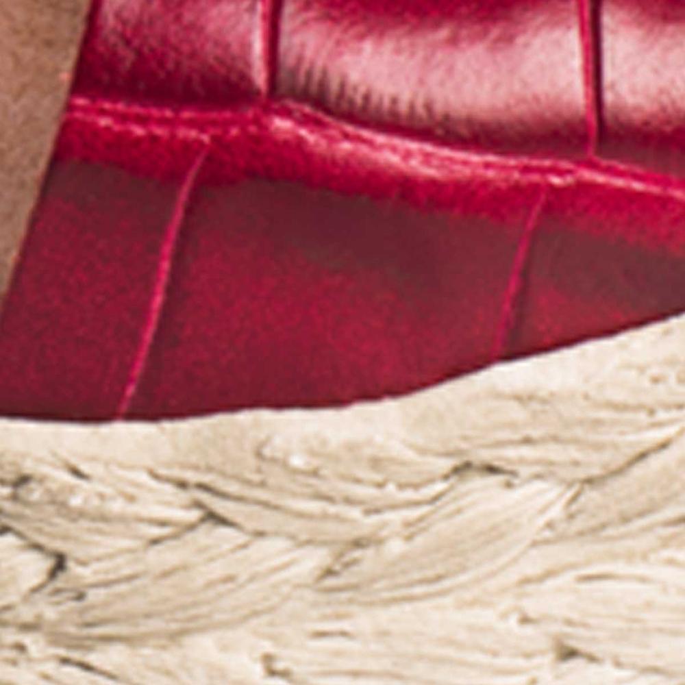 Sandalia cuña mujer piel - rojo