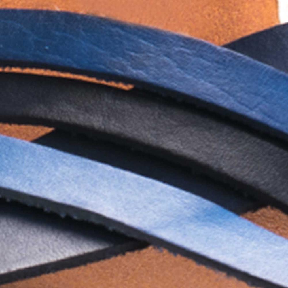 Sandalia cuña mujer piel - azul
