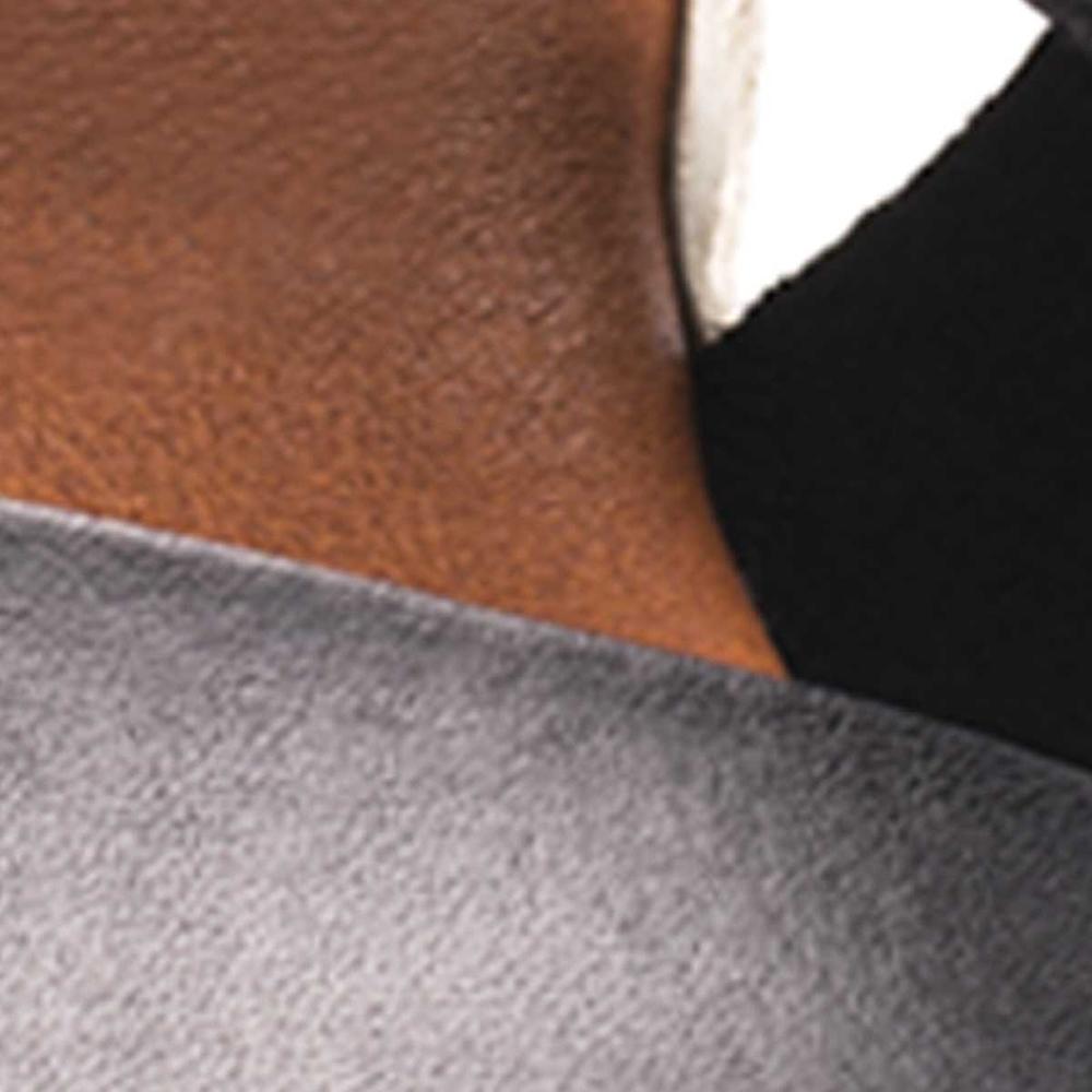 Sandalia cuña mujer piel - negro
