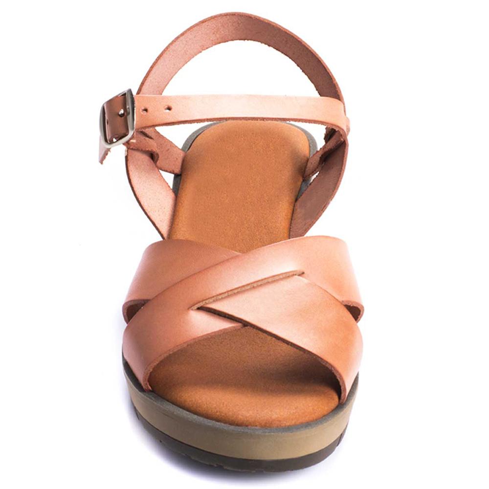 Sandalia cuña mujer piel - rosa