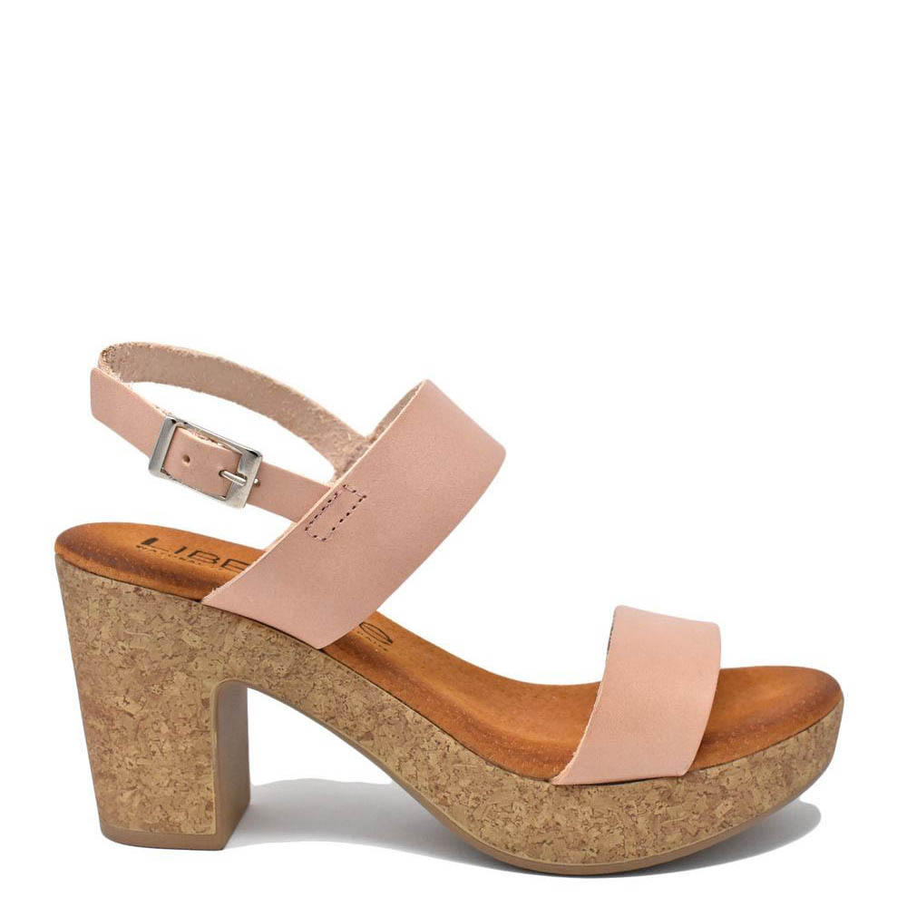 Sandalia tacón mujer piel - rosa