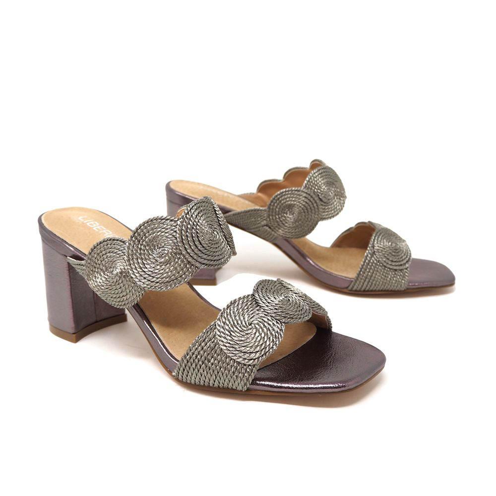Sandalia tacón mujer - gris