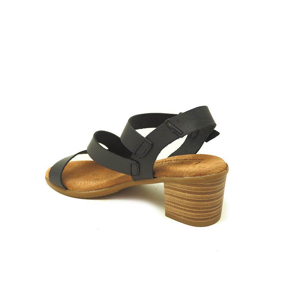 Sandalia tacón mujer piel - negro