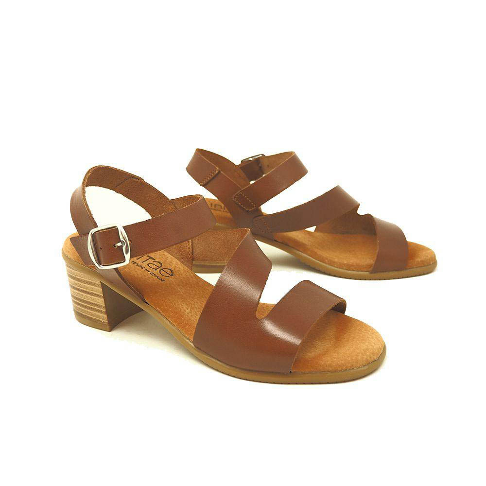 Sandalia tacón mujer piel - marrón