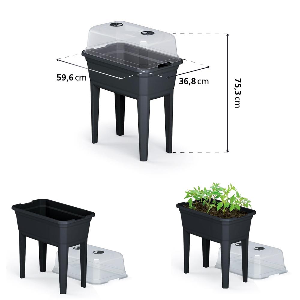 Jardinera alta con cubierta - antracita