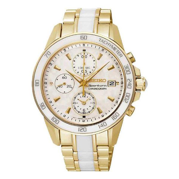 Reloj analógico acero mujer - dorado/blanco