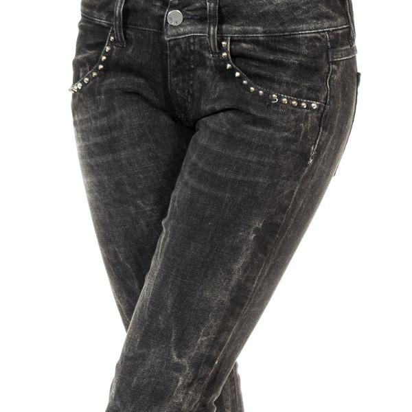Pantalón largo tejano - gris oscuro denim