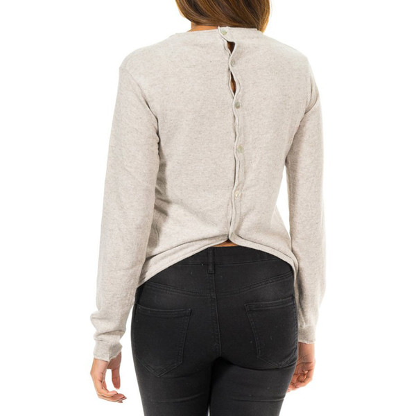Jersey m/larga botones traseros mujer - arena