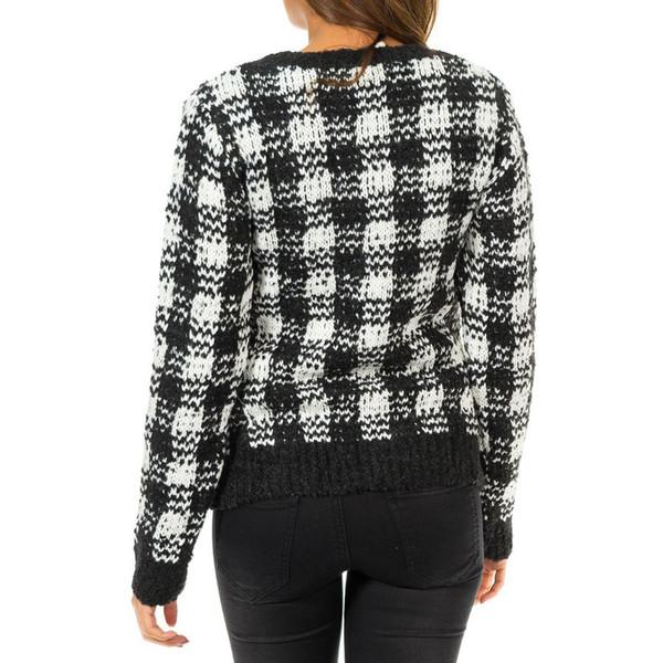 Jersey m/larga cuadros - blanco/negro