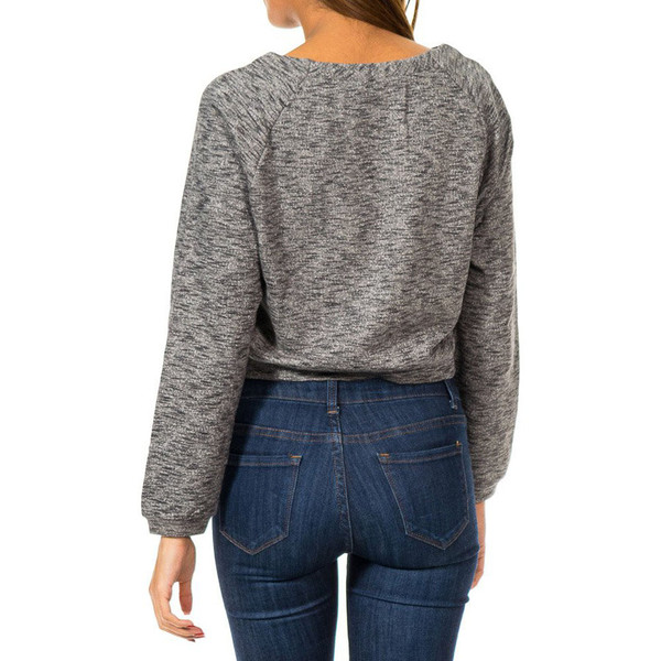 Jersey m/larga con strass mujer - gris oscuro