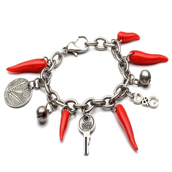 Pulsera acero con charms - plateado/rojo