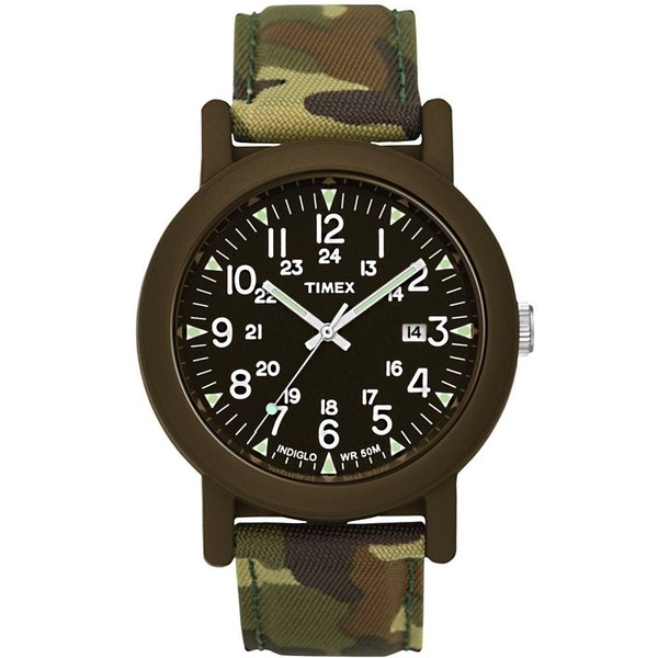 Reloj analógico textil unisex - verde/marrón