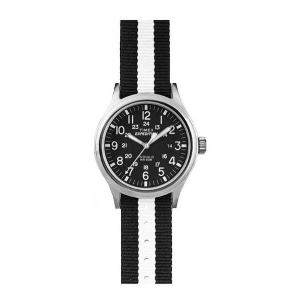 Reloj analógico textil unisex - blanco/azul