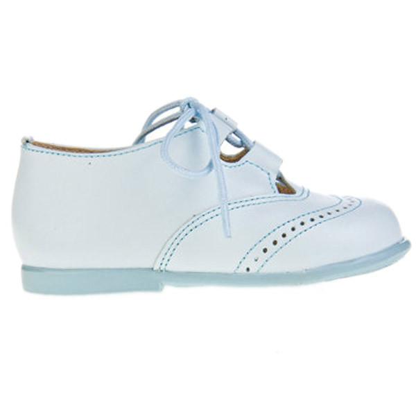 Zapato inglesito piel infantil - celeste