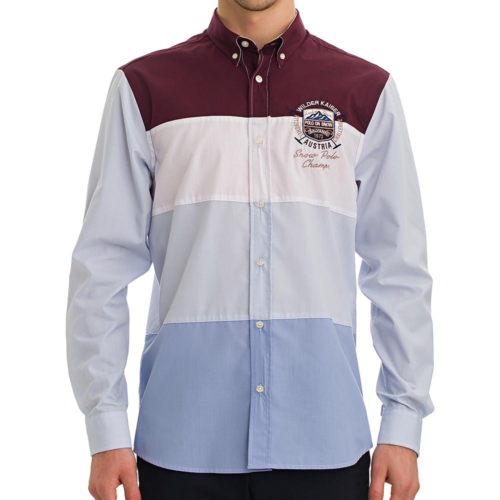 Camisa regular fit hombre - burdeos/azul
