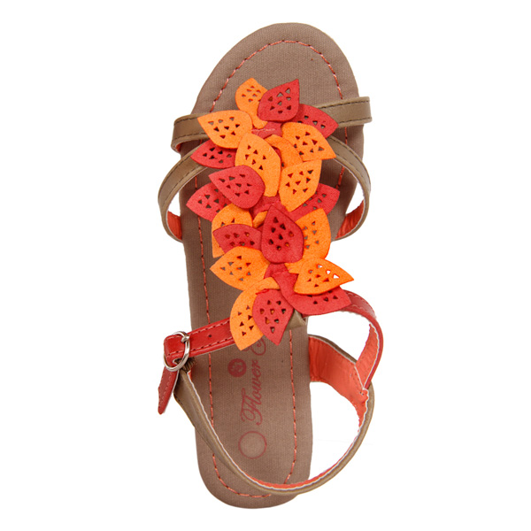 5 cm Sandalias con flores sobrepuestas - taupe/coral