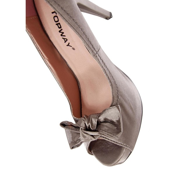 11cm Zapato tacón punta abierta - gris