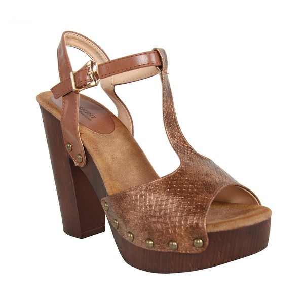 Sandalias tacón punta abierta mujer - marrón