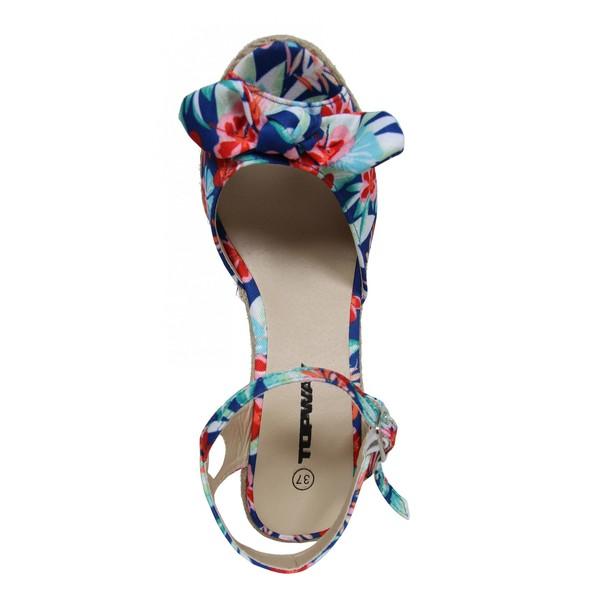 Sandalias cuña punta aboerta mujer - azul
