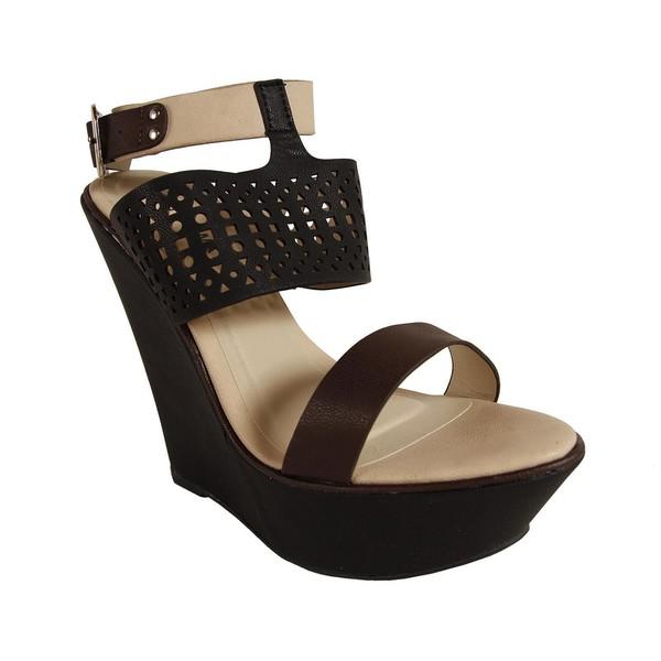 Sandalias cuña punta abierta mujer - negro