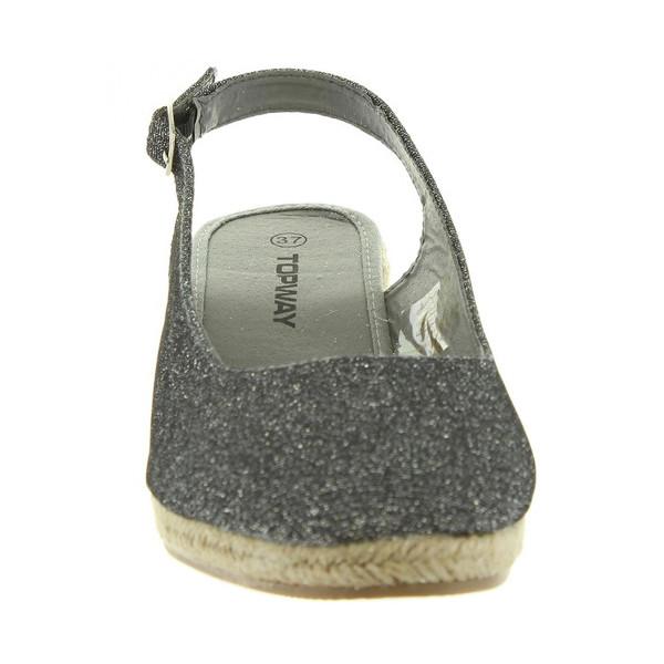 Sandalias cuña tipo espardeña mujer - gris