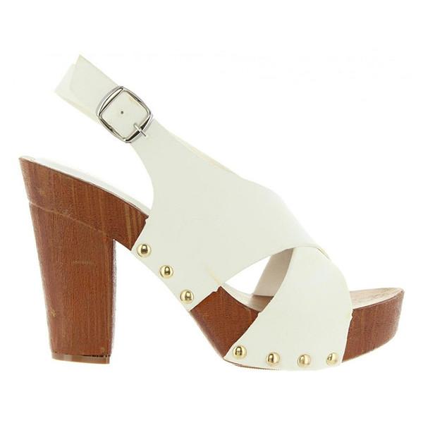 Sandalias tacón mujer - blanco
