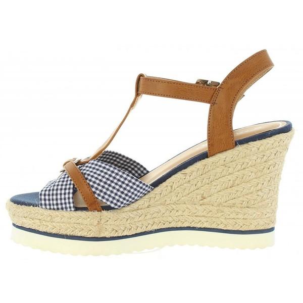 Sandalias cuña mujer - marrón
