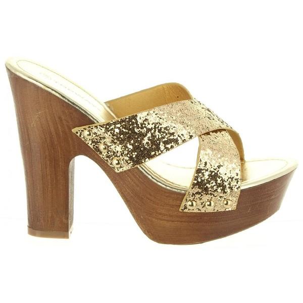 Sandalias tacón mujer - dorado