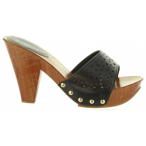 Sandalias de tacón negra
