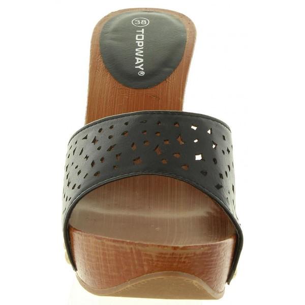 Sandalias tacón mujer - negra