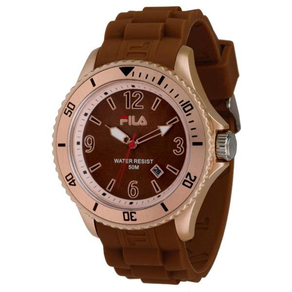 Reloj analógico unisex caucho - marrón