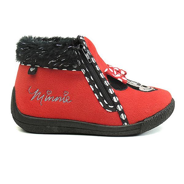 Zapatilla de casa abotinada Minnie - rojo/negro