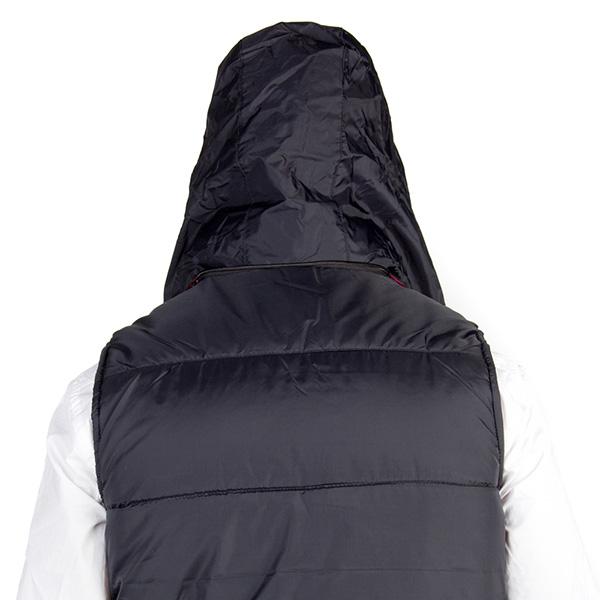 Chaleco acolchado con capucha extraíble - negro