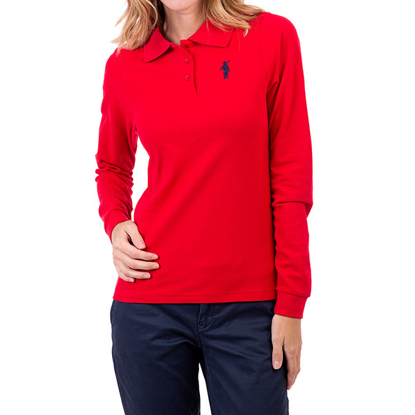 Polo m/larga Custom fit mujer - rojo