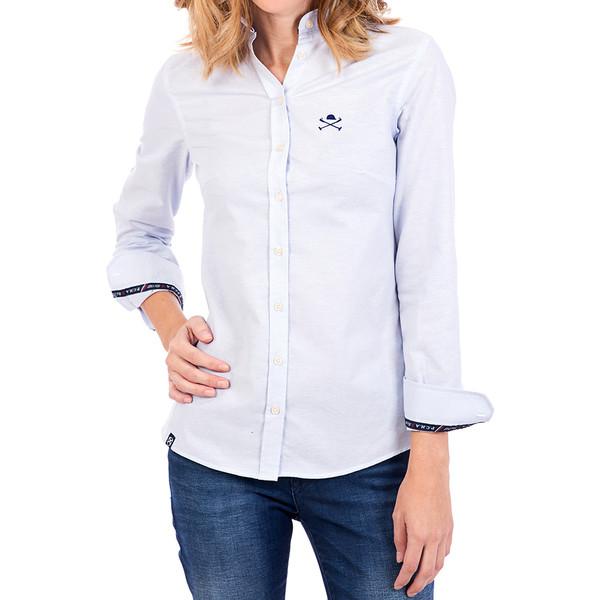 Camisa m/larga solapa - azul celeste