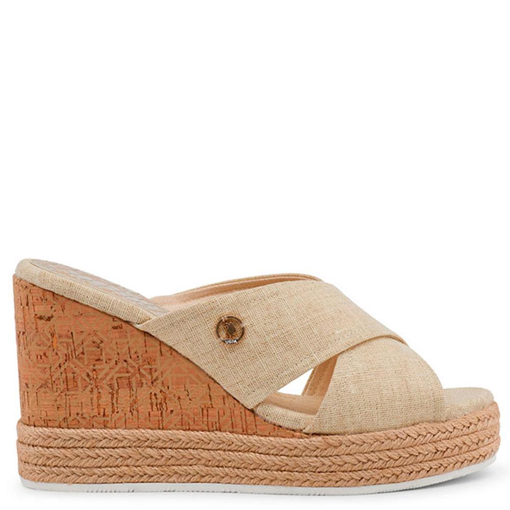 10,5cm Sandalia cuña mujer - marrón claro