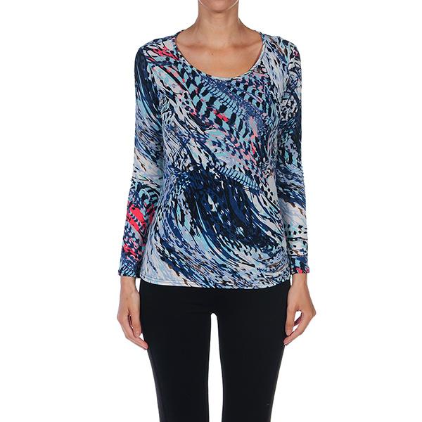 Camiseta m/larga estampada - azul