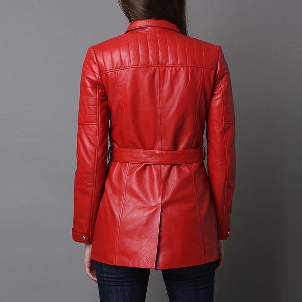 Chaqueta de piel mujer - rojo