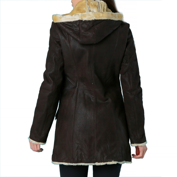 Abrigo de piel mujer - chocolate
