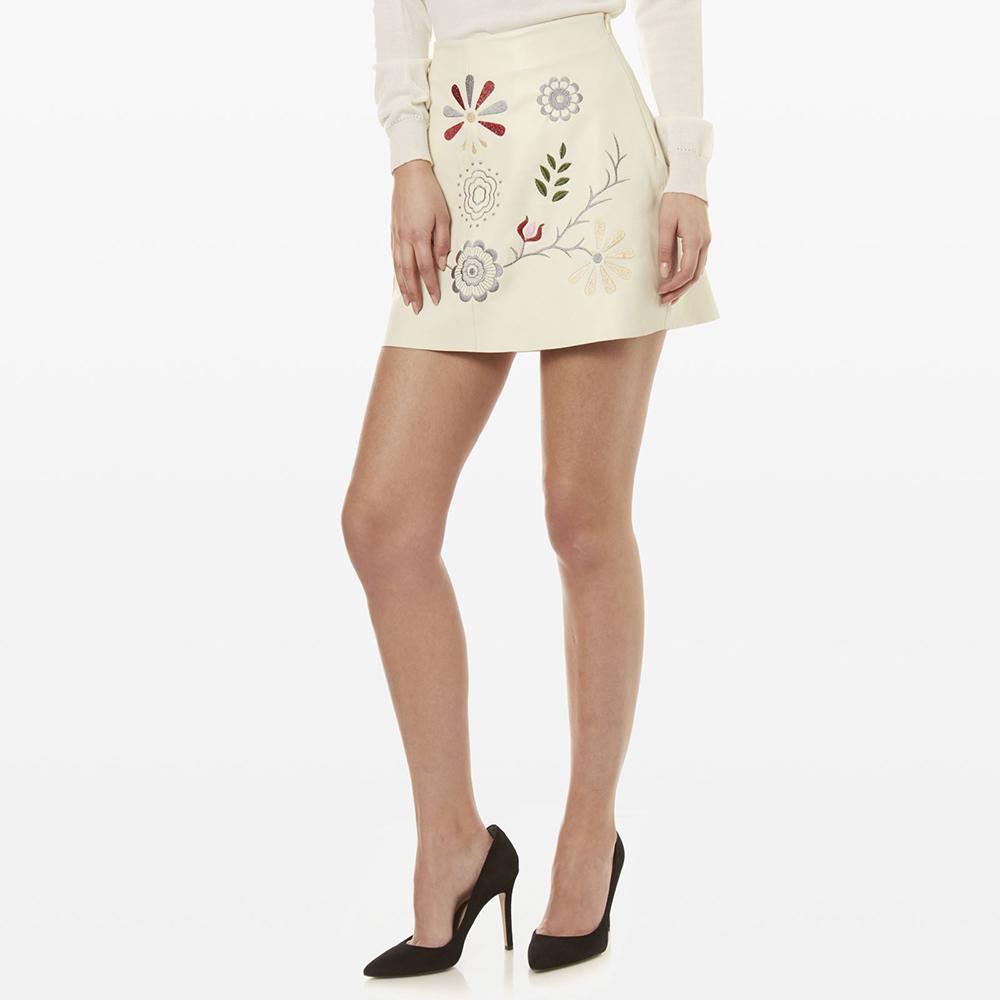 Falda piel mujer - crudo