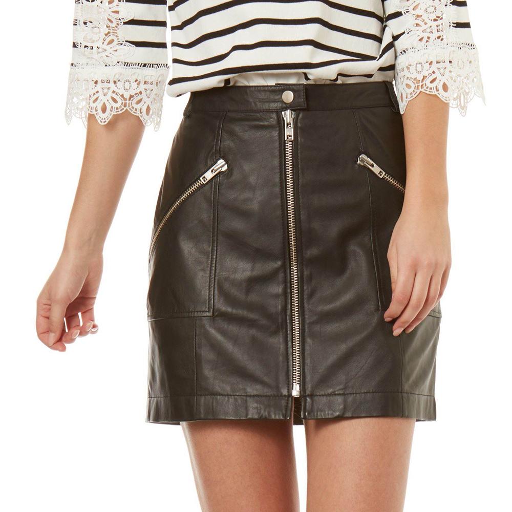 Falda de piel - negro