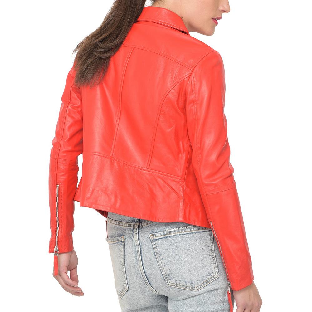Chaqueta piel mujer - rojo