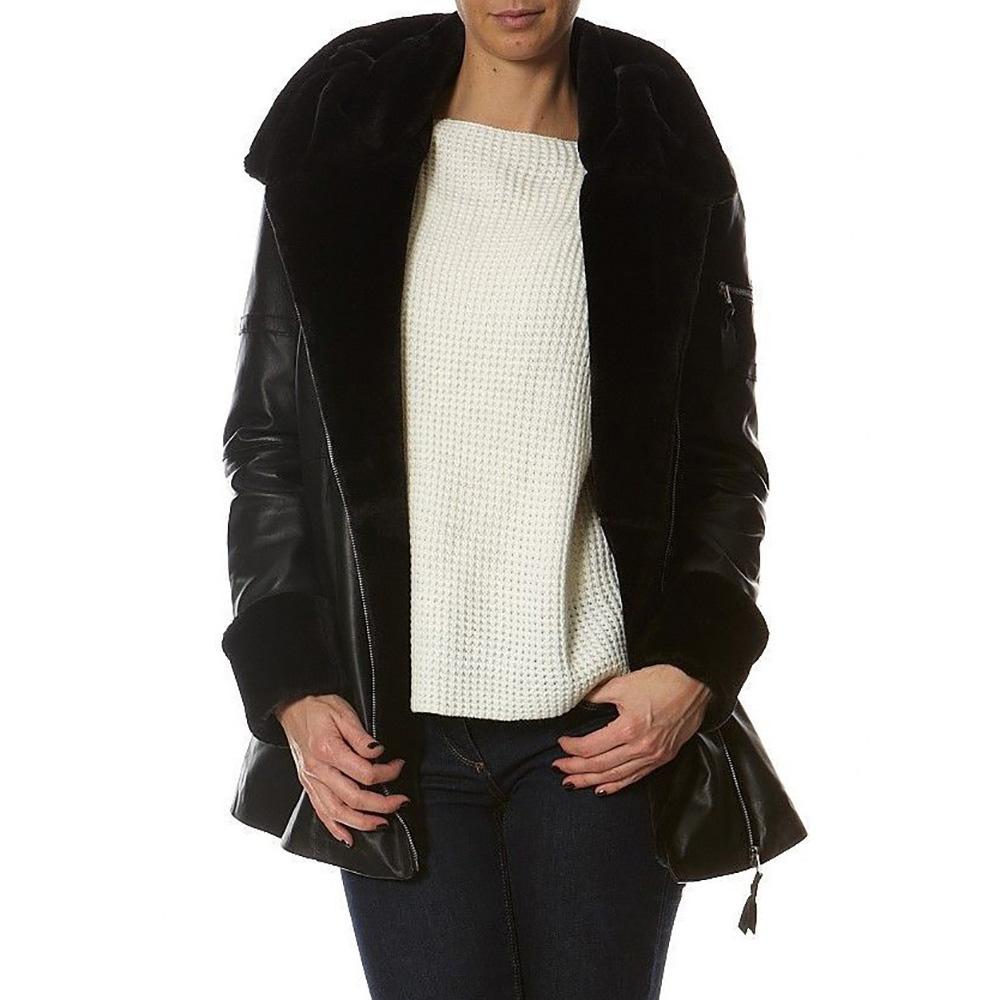 Abrigo piel mujer - negro