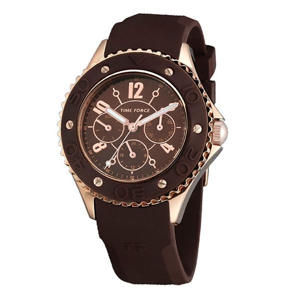 Reloj mujer multifunción caucho - marrón