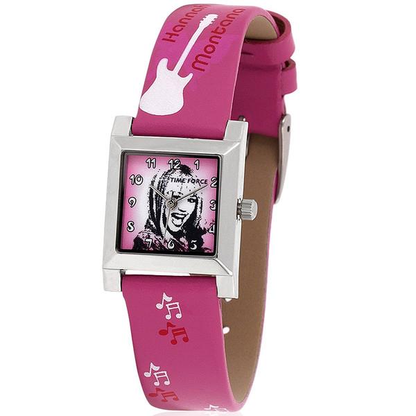 Reloj analógico piel infantil - rosa