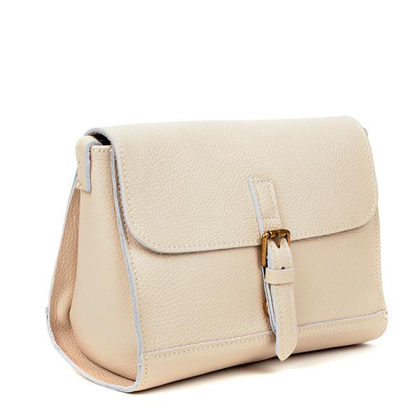Bolso shoulder piel mujer - beige