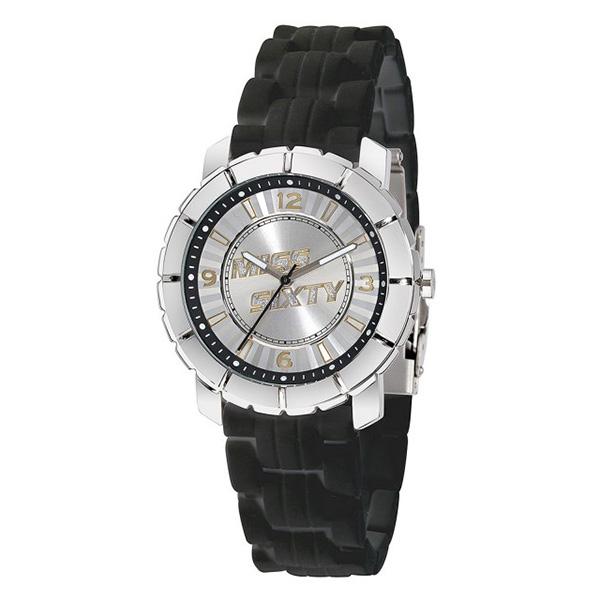 Reloj analógico caucho mujer - negro/plateado