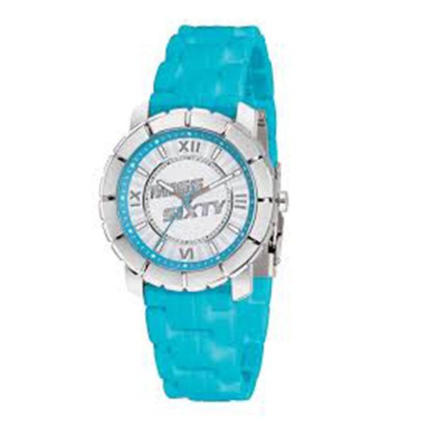 Reloj mujer analógico caucho - azul/plateado