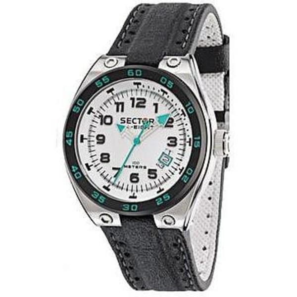 Reloj analógico piel hombre - blanco/negro